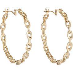 Tilda Biehn Women's Aurora Hoop Earrings (2,645 CAD) ❤ liked on Polyvore featuring jewelry, earrings, joias, no color, gold jewelry, gold earrings, 14k gold jewelry, chain link earrings and earring jewelry