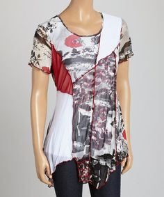 Look what I found on #zulily! Gray & Red Floral Patchwork Scoop Neck Top #zulilyfinds