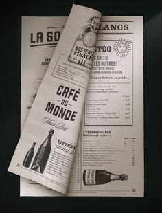 Wonderful branding for Café Du Monde by studio lg2 Boutique. #design #menu
