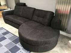 Milena sofa with curve chaise is modern and offers very comfortable seating. Sofa with optional headrest. Delivered to our client in Hertfordshire. Leather Bed, Clean Design, Sofa Design, Modern Bedroom, Contemporary Furniture, Sofas, Couch, Home Decor, Homemade Home Decor
