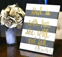 """bible verse canvas painting """"she will not fail"""" for a little girl's nursery!"""