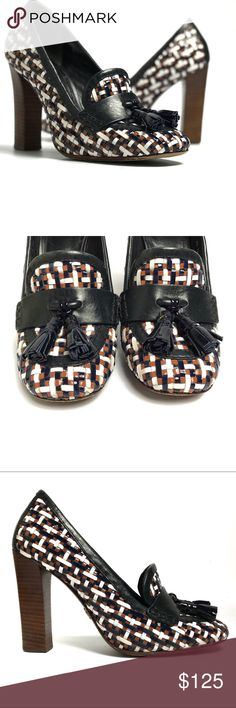 Tory Burch Careen Runway Loafer Pumps Navy Great used condition Tory Burch Careen Runway tasseled loafer pumps. Gorgeous woven upper in navy, white, and tan. Combination of the beloved loafer and a classic, leg sculpting pump. Stacked wood heel. Some scratches on heel and moderate wear on backs of uppers (see last photo), and moderate wear to sole. Overall very nice, gently worn condition. Tory Burch Shoes Heels