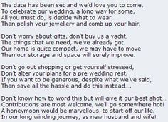 Poem asking politely for cash towards the honeymoon instead of gifts