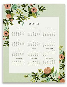 2013 Wall Calendar, Flower Print by Anna Bond Brand Packaging, Packaging Design, Typography Design, Logo Design, Flower Prints, Make It Simple, Calendar, Stationery, Lily