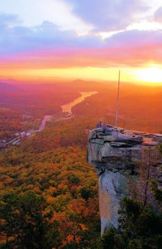 Sunrise at #ChimneyRock, NC, in the mountains near Asheville. Photo by www.RomanticAsheville.com