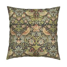 Catalan Throw Pillow featuring William Morris ~ Strawberry Thief by peacoquettedesigns