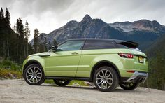 Green 2012 Range Rover Evoque in its natural environment.