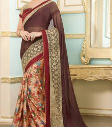 Buy brown embroidered viscose saree with blouse party-wear-saree online