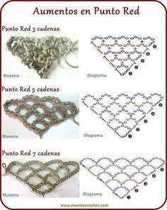 Punto red - Crochet stitch - в cool charts for crochet trellis triangles - steep to broad This Pin was discovered by Lil Ideas que mejoran tu vida Learning The Craft Of Crochet Stitches – Love Crochet & Knitting Crochet Instructions, Crochet Diagram, Crochet Chart, Crochet Motif, Diy Crochet, Stitch Crochet, Punto Red Crochet, Filet Crochet, Irish Crochet