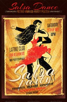 """Salsa Dance Club Retro Vintage Party Poster #GraphicRiver Salsa Dance Club Retro Vintage Party Poster is energetic and cool poster. Old-fashioned class handmade dancers illustration will highlight your ourstanding dancing event. Package includes • Well grouped print ready PSD file • 2625px x 3375px • 8.5""""x11"""" (with .25"""" bleeds) • CMYK color model • 300 dpi Used font: Fonts are not included to final package, you can find them here: Arizonia .fontsquirrel /fonts/arizonia Steelfish…"""