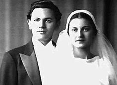 "Mr. and Mrs. John Garfield on their wedding day January 27, 1935. They were childhood sweethearts. While he did give into the ""Hollywood"" life style many times, he always returned to his wife and she always took him back. Quite a love story!"
