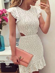 Cream Ruffle Trims Cut Out Side Lace Crochet Dress