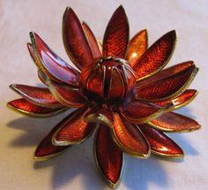 Enamel 3D Flower Brooch Made in Germany
