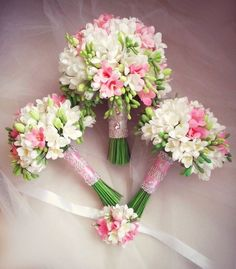 16 Stunning Summer Wedding Flowers---blush pink and white freesia wedding bouquet for organic garden weddings, diy bridal bouquets Freesia Bridal Bouquet, Prom Bouquet, Bride Bouquets, Flower Bouquet Wedding, Floral Wedding, Wedding Decor, Silk Wedding Bouquets, Prom Flowers, Bride Flowers