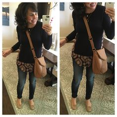 LOVE the jeans, LOVE the flats, LOVE the cross body bag.  (Love the sweater too, but it's sold out.)