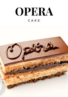 Opera Cake is a classic French pastry that combines a delicate almond sponge cake with the silkiest coffee buttercream and ganache. Patisserie Cake, French Patisserie, Chocolate Cake With Coffee, Coffee Cake, Chocolate Glaze, Cake Recipes, Dessert Recipes, Gourmet Desserts, Plated Desserts