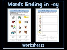 This resource contains two worksheets on words ending in -ey that make the long 'e' sound. You may also be interested in: Set of 21 Differentiated Workshee. Powerpoint Games, Powerpoint Lesson, Aqa English Language, Spelling Practice, English Resources, Turu, Guided Reading, Phonics, Teaching Resources
