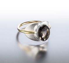 Janis Kerman Design | Sterling silver, 18kt yellow gold, smokey quartz
