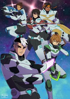 Lance, Keith, Shiro, Pidge and Hunk five Paladins of Voltron from Voltron Legendary Defender