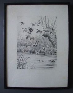 Vintage #charcoal drawing of ducks on and above water with black #frame & #glass,  View more on the LINK: http://www.zeppy.io/product/gb/2/161680042674/