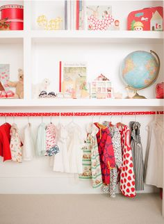 I love to see closets that are made to fit the contents, rather than shoving contents into closets--like this for kids, or a divided closet with two bar heights for coats.