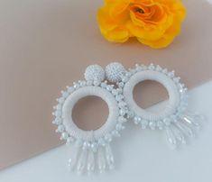 Carmen White Threaded and Beaded Earrings Beaded Earrings, Etsy Earrings, Beaded Jewelry, Hoop Earrings, Crochet Earrings Pattern, Latest Mehndi Designs, Thread Jewellery, Crochet Accessories, Bridal Jewelry