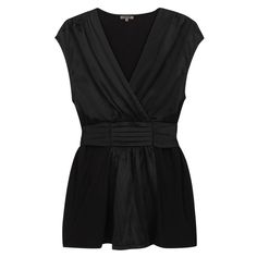 Silk And Modal Crossover Top (720 VEF) ❤ liked on Polyvore featuring tops, blouses, shirts, black, blusas, black silk shirt, tie blouse, bleach shirt, black shirt en jersey shirts