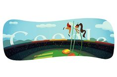 London 2012 pole vault doodle: A female pole vaulter propels herself high in the sky in Google's ninth doodle during the London Olympic Games.