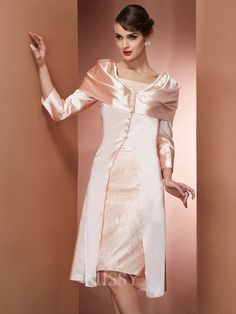 Sheath Square Knee-Length Elastic Woven Satin Evening Dress With Lace