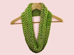 COWL SCARF Infinity Greens Bernat Bargello by CraftCreationsEtsy