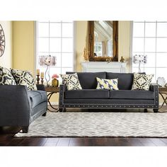 Shop for Furniture of America Salma Contemporary Charcoal Premium Fabric Sofa Set. Get free delivery On EVERYTHING* Overstock - Your Online Furniture Shop! Get in rewards with Club O! Family Room Decorating, Small Apartment Decorating, Decorating Ideas, Leather Sofa Sale, Leather Sofas, Living Room Furniture, Living Room Decor, Charcoal Sofa, Furniture Deals