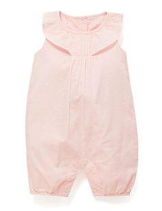 Pink Pure Cotton Swiss Dot Romper