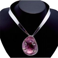 Piedra Y Plata F Martinez Taxco Mexican Sterling Silver Amethyst Necklace