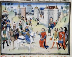 The capture of Jerusalem by Saladin on October 2, 1187 which caused the Third Crusade (1189-92). Balian of Ibelin surrenders and hands over the keys to the Tower of David to Saladin. From the chronicle of David Aubert. Illuminated manuscript; 15th century.
