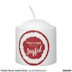 Shop Today's Mood: Joyful Christmas Votive Candle created by Joyfulgiftstudio. Holiday Cards, Christmas Cards, Christmas Ornaments, Holiday Decor, Todays Mood, Votive Candles, Elephant Gifts, Decoration, Red And White