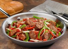 """Johnsonville Italian Sausage, Onions & Peppers Skillet. One reviewer declared this recipe to be """"ridiculously amazing"""" and it's become the new family favorite! Tip: Serve over rice as a variation. - Johnsonville.com"""