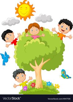 Kids playing on tree Royalty Free Vector Image Drawing For Kids, Art For Kids, Crafts For Kids, Kids Background, School Frame, Board Decoration, School Clipart, Drawings Of Friends, School Decorations