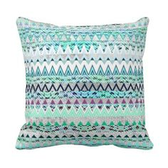 Mint Green Tribal Pattern Throw Pillow Girls Room Throw Pillows | Pretty Throw Pillows