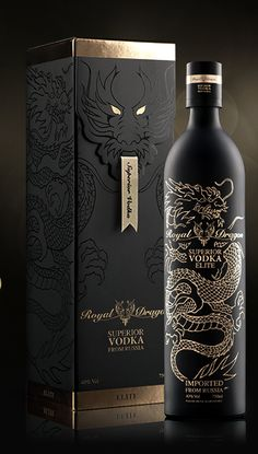A matt black finish, and a delicate, gold line drawing add a touch of class to this matching box and bottle design