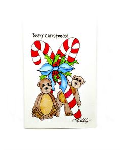 Christmas Teddy Bear Cards, Print from Original Watercolor