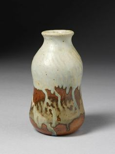 Stoneware vase with cut decoration and run glazes, made by Jean Joseph Marie Carriès, Saint-Amand-en-Puisaye, France ca. 1890.
