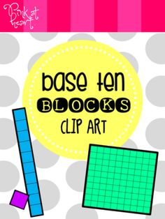 Base Ten Blocks Clip Art FREEBIE from Pink at Heart on TeachersNotebook.com -  (18 pages)  - png files - Ones, Tens and Hundreds!  5 colors!