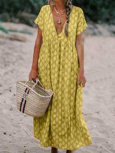 2019 Boho V-Neck Short Sleeve Maxi Dress Casual Floral Printed Dress Vintage Solid Plus Size Beach Dress Maxi Dress With Sleeves, Short Sleeve Dresses, Long Sleeve, Bon Look, Casual Dresses, Summer Dresses, Maxi Dresses, Vacation Dresses, Linen Dresses