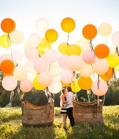 Vintage Hot Air Balloon Wedding Inspiration Balloon Basket from Found Orange Balloons, Giant Balloons, Wedding Themes, Wedding Photos, Wedding Decorations, Wedding Blog, Wedding Ideas, Balloon Backdrop, Balloon Decorations