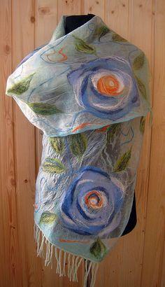 Nuno Felting, Needle Felting, Fabric Paint Designs, Nuno Felt Scarf, Felt Mouse, Textile Fiber Art, Wool Applique, Felt Art, Felt Flowers