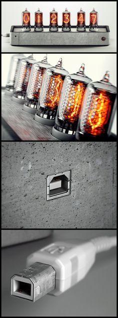 Nixie tube concrete clock by Александр Докучаев, via Behance