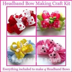 A great hand made craft kit for children and adults. You get everything you need to create these beautiful Headband Bows! Instructions are easy to understand. Everything included to make these head band bows! Includes: 4 headbands 4 bendy bow clips, 4 ribbon sets 16 curly korkers Warning: Contains small parts,Choking hazard for children.