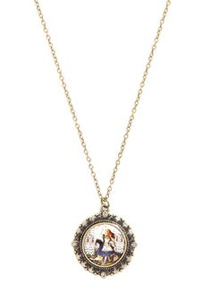 Alice in Necklace, #ModCloth. Once you fall through the rabbit hole and find this darling necklace, there's no turning back. Edged in fanciful scalloping, this circular pendant depicts Alice escaping the Queen of Hearts' playing card henchmen. Wear this accessory to your imagination's content, and you'll never want to leave the wonderful land of cute jewelery.