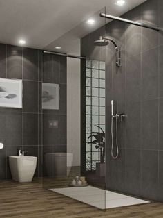 Arredi per il bagno in legno e grigio - Bagno con doccia moderna