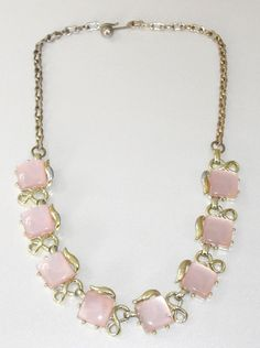 Vintage Lucite Thermoset Pink Moon Glow Necklace by designfrills, $19.99